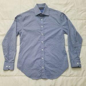 Emporio Armani Dress Shirt Men's 15.75 Blue Stripe